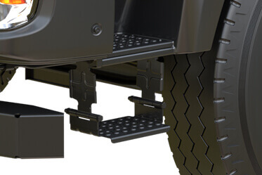 Lowest Step-in Height with three step footstep and Scuff Plate